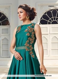buy Glamorous Green Silk Party Wear Gown online, buy Gown online,  Gown online shopping