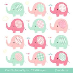 "Cute Elephant Clip Art ""ELEPHANT CLIPART""- Baby Shower Elephants Nursery Png Images. Elephant Clipart. Pink Elephants. Mint Elephants."