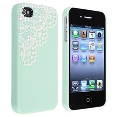 Hand Made Lace and Pearl Green Hard Case Cover for iPhone 4 4G 4S:Amazon:Cell Phones & Accessories