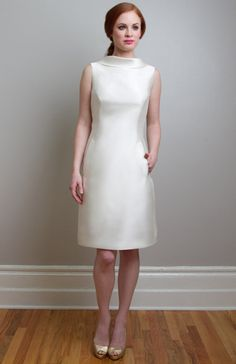 For a very chic bride, who appreciates fine details the rolled collar conceals and reveals a dramatic scooped back. Silk or poly mikado fabric, side zipper, fully lined. Professionally clean only. Different Wedding Dresses, Unconventional Wedding Dress, 2015 Wedding Dresses, Classic Wedding Dress, Bride Dresses, Pnina Tornai, Kate Beckett, Short Bride, Sunday Clothes