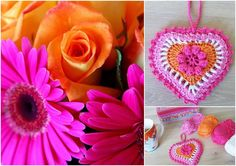 color and photo inspiration ... crochet heart ornament ... orange and hot pink ...