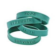 September is Ovarian Cancer and PCOS Awareness Month. Show support for those affected with these teal ribbon saying bracelets and help raise awareness for a cure.