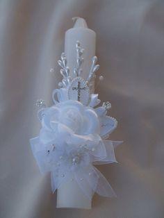 Satin Flowers, White Flowers, Vintage Baptism, Baptism Candle, Barbie Wedding, Communion Invitations, Communion Gifts, Baptism Party, Crystal Cross