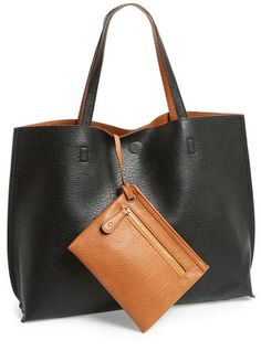 Street Level Reversible Faux Leather Tote  amp  Wristlet - Black Vegan  Leather, Black Leather 7c708c44b4