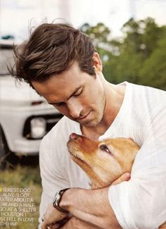 ryan reynolds with a puppy. yesss please!?!!!