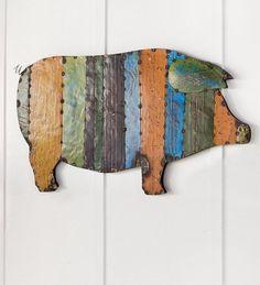 Recycled Metal Handmade Pig Wall Art #PlowHearth