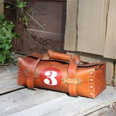 Vintage Leather Numbered Duffle,its my fovourite for today