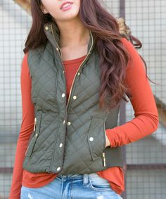 Olive and orange-- love it for fall! This Olive Quilted Faux Fur-Trim Puffer Vest is perfect! #zulilyfinds