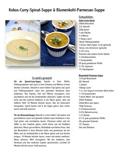 Kokos-Curry-Spinat-Suppe & Blumenkohl-Parmesan-Suppe-001