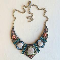 Tribal choker Tribal pastel choker bib necklace HWL boutique Jewelry Necklaces