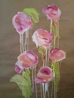 """Winter flowers by C.Millichamp acrylic and charcoal on 48""""× 60"""" paper"""