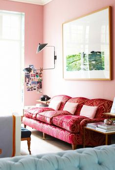 Pink Living Room With Red Sofa