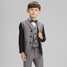 H1043 Children Gray Blazer Prom Wedding Boys Suits 4pcs Leisure Jacket Trousers Vest Bow Tie Set High Quality Kids Casual Clothes by HHCbridal on Etsy