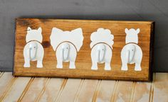 This is the perfect hook shelf for a childrens room, nursery, or bathroom! Children will love hanging their backpacks, coats, or towels on these Safari Bathroom, Safari Nursery, Elephant Nursery, Bathroom Kids, Animal Nursery, Lion Nursery, Bear Rug, Painted Wood Signs, Hand Painted