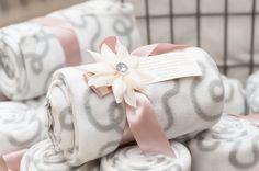 Wedding favours - Blankets tied in a blush ribbon accompanied with a greek Koufeta.   Ideas for Boubounieres, confetti holders, wedding favors, Confetti Flowers , bomboniere favors, jordan almond.
