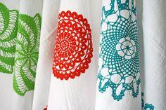 Set of Three. Kitchen Towels. Cotton Tea Towels. Hand Screen-Printed. Doily Design. Gift Set.. $41,00, via Etsy.