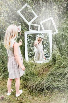 Memini children`s wear by Kristine Vikse, Norwegian design, organic cotton, baby and kids ss 2016. Baby girl, Alice in wonderland, , cotton, baby dress, flower dress,  prinsessefin, mirrors,  Alice in wonderland, frames