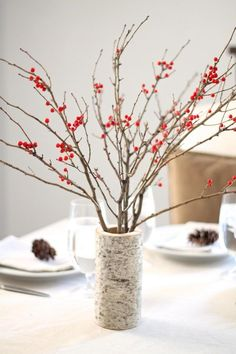 DIY Berry And Birch Table Setting.