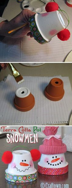 Geschenkideen Weihnachten - Terra Cotta Pot Snowman by janell Christmas Crafts For Kids, Christmas Projects, Christmas Fun, Holiday Crafts, Holiday Fun, Christmas Decorations, Fun Crafts, Clay Pot Projects, Clay Pot Crafts