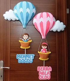 Felt Crafts Diy, Bird Crafts, Foam Crafts, Crafts For Kids, Bricolage Baby Shower, Handmade Sheet, Balloon Door, Baby Balloon, Felt Wall Hanging