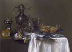 Title: Still Life: Pewter and Silver Vessels and a Crab, c.1633/37 Artist: Willem Claesz Heda Medium: Canvas Print
