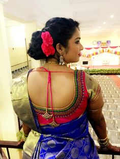 Blue kanchipuram with silk contrast blouse
