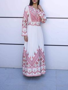 Stylish red embroidered maxi dress from velvet and georgette fabric Comes with a matching embroidered belt Finest women's embroidery fashion Wedding Hijab Styles, Disney Wedding Dresses, Pakistani Wedding Dresses, Embroidery Fashion, Embroidery Dress, Beige Maxi Dresses, Bridesmaid Dresses, Abaya Pattern, Palestinian Embroidery