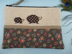Handmade Cosmetic Makeup Bag or large purse with Hedgehog design applique embroidery, Cath Kidston floral ditsy fabric & linen by Artist