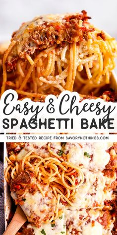 Enjoy the hearty comfort food flavors in this cheesy casserole packed with ground beef or sausage, mozzarella, ricotta and spaghetti – perfect for an easy and delicious dinner. This is a kid friendly and family friendly casserole recipe for dinner. Ground Beef Recipes For Dinner, Easy Dinner Recipes, Easy Meals, Dinner Ideas, Easy Dinners For Kids, Dessert Recipes, Baked Spaghetti Casserole, Cheesy Spaghetti, Baked Spaghetti With Ricotta