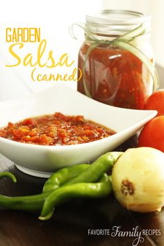"""The Best Canned Salsa from FavFamilyRecipes.com - I was so excited to go out to my garden last week and find loads of ripe tomatoes, onions, and peppers. I knew immediately it was time to make some salsa! This is my favorite canned salsa recipe by far.  It is Elise's recipe and our family has been making it for YEARS. It is kind of a """"cheater"""" recipe because we use a seasoning packet– but it saves time and still tastes fresh and amazing."""