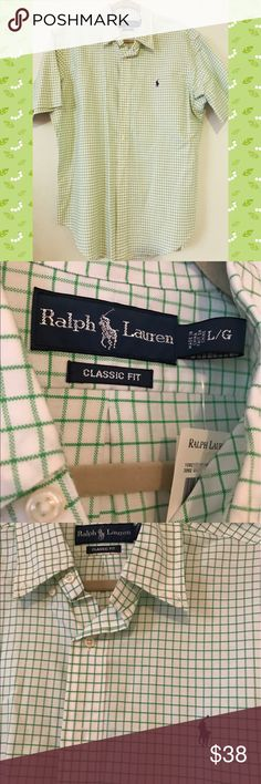 Men's Ralph Lauren Button Down Shirt (NWT) Classic fit. Size L. Still has tags on. In green plaid. Shorts Sleeves. Perfect spring/summer shirt ✨👌🏼 ✨ Ralph Lauren Shirts Casual Button Down Shirts