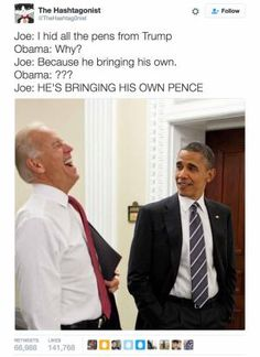 A roundup of the best memes showing Barack Obama and Joe Biden's imagined conversations about pranking Donald Trump.: Hiding All the Pens