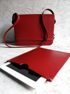 Finkle Street Handcrafted Red Leather Bag with iPad Sleeve £165.00