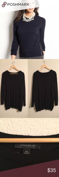 Ann Taylor Side Zip Sweater Wool blend side zip sweater in excellent condition. Make an offer! 15% off bundles of 2 or more! Ann Taylor Sweaters Crew & Scoop Necks
