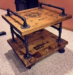 "Man-Cave Industrial Side-Table on casters with ""Bear Down"" and Chicago Bear logo"