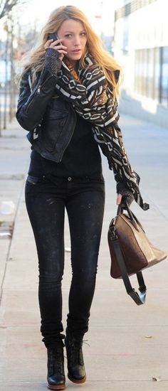 Blake Lively wearing Theodora & Callum Gold Multi Goa Tie All Scarf, Diesel L-Sienna Jacket, Diesel Skinny Leg Jeans, Givenchy Medium Antigona Duffel bag,