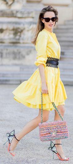 #spring #fashion Yellow Dress & Printed Shoulder Bag