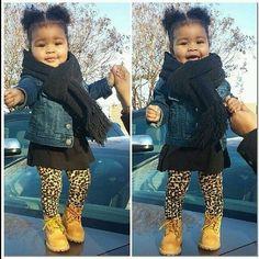 00adbd27e639 Black scarf denim jacket leopard leggings cheetah leggings boots cute  little girls look Toddler Girl Style