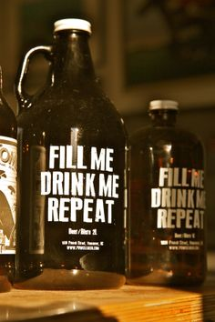 Growlers from Powell Street Brewery.