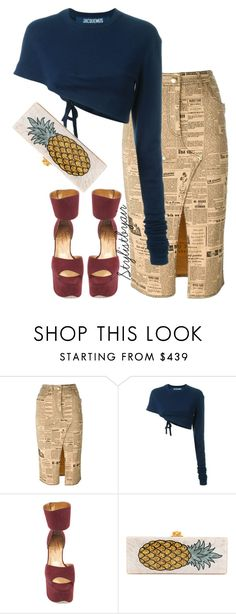 """""""Untitled #6722"""" by stylistbyair ❤ liked on Polyvore featuring John Galliano, Jacquemus, Walter Steiger and Edie Parker"""