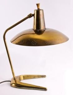 Gerald Thurston Attributed, Perforated Brass Desk Lamp for Lightolier, 1950s.
