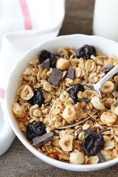 Hazelnut Granola with Dried Cherries and Dark Chocolate Recipe