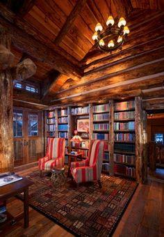 www.helpusell-properties.com Library in Montana Luxury Log Home....