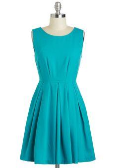 Laguna Speech Dress - Short, Blue, Solid, Pleats, Pockets, Party, A-line, Sleeveless, Scoop