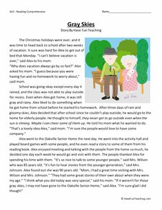 This Gray Skies - Reading Comprehension Worksheet will help your students build their reading comprehension skills while reading about a visit to a nursing home. 6th Grade Reading, Reading Test, Teaching Reading, Learning, Reading Comprehension Worksheets, Reading Fluency, Reading Strategies, Kids English, English Reading