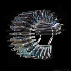 Bracelet | Sarah Angold. 'Viali'  Acrylic with silver