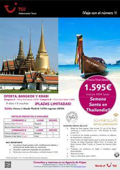 ¡Semana Santa en Thailandia! Bangkok y Krabi ¡Plazas Garantizadas! Precio final desde 1.595€ ultimo minuto - http://zocotours.com/semana-santa-en-thailandia-bangkok-y-krabi-plazas-garantizadas-precio-final-desde-1-595e-ultimo-minuto/