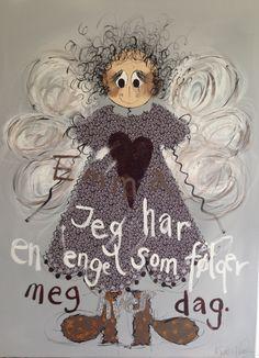 Jeg har en engel som følger meg hver dag. Proverbs Quotes, Colorful Paintings, Art Girl, Lamb, I Am Awesome, Doodles, Humor, Cash Register, Angels