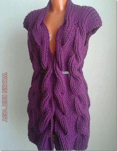 Lace Knitting, Knitting Stitches, Knitting Patterns, Knit Crochet, Knit Cardigan Pattern, Sleeveless Jacket, Mohair Sweater, Crochet Fashion, Crochet Dresses