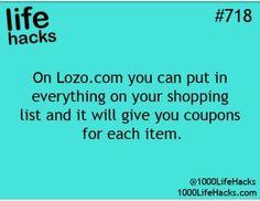 Lozo.com-your shopping lists coupons-(Life Hacks-1000LifeHacks.com;@1000LifeHacks)awesome!